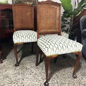 rattan back dining chairs with upcycled seats in Romo velvet