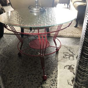 red iron outdoor table