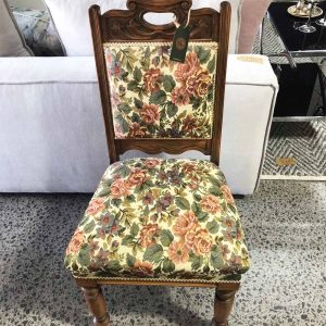 antique kauri chair with Sanderson fabric