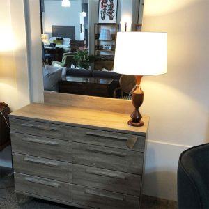 grey wash bedroom dresser with mirror
