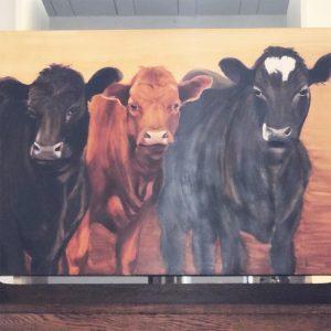 hand painted three cows painting on hardboard