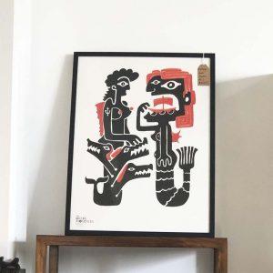 greek monsters framed print