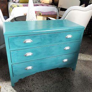 aqua chalk paint 3 drawer chest