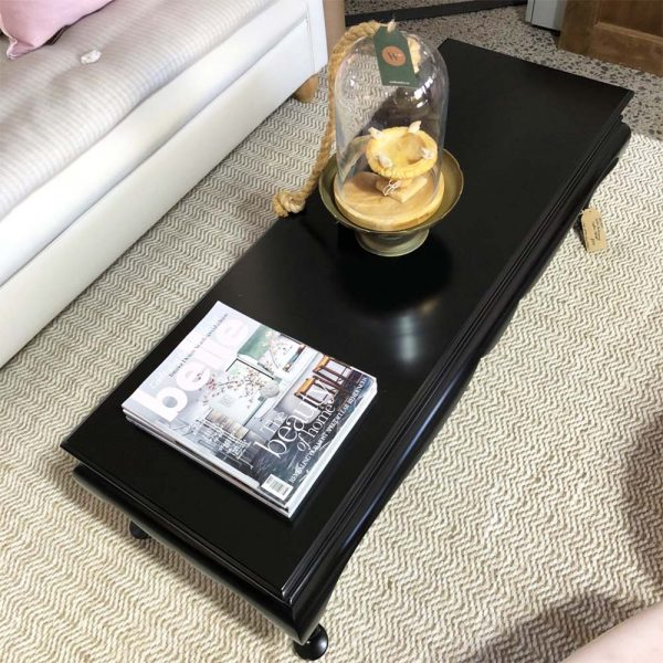 top view black satin upcycled coffee table