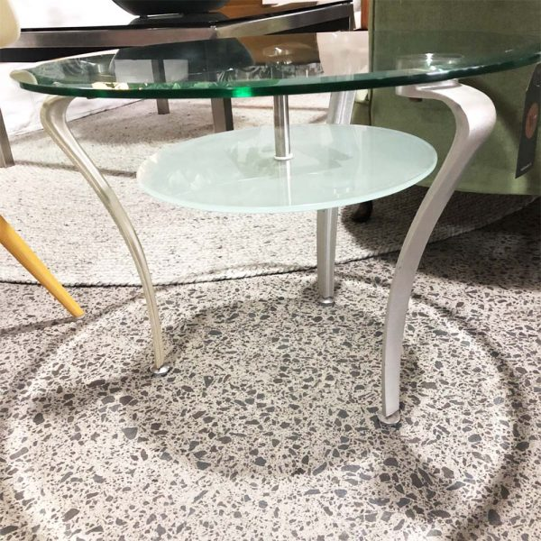small glass round side table