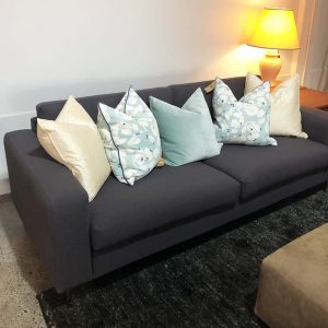 upcycled grey linen 3 seater sofa