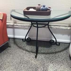 curved iron console