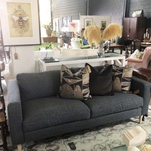 navy textured upcycled 2.5 seater sofa