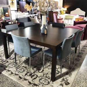 square dark wood dining table