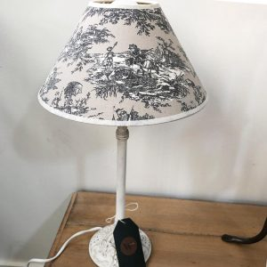 low cream painted lamp base with toile shade