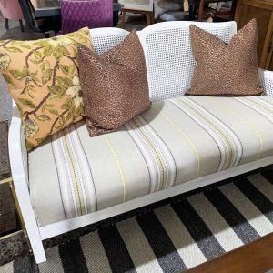 white rattan sofa