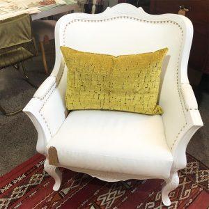 white gloss studded chair