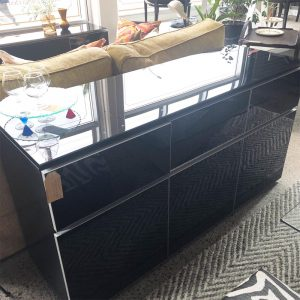 black gloss and glass top sideboard