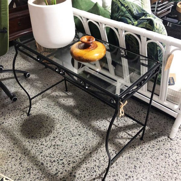 black iron console with glass top