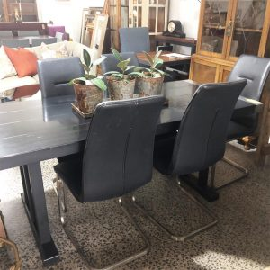 black + stainless dining table