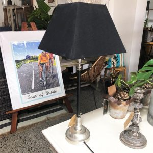 black and pewter table lamp with black linen shade