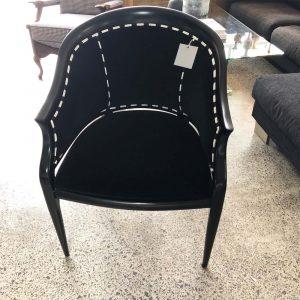 black velvet tub chair with stripe back