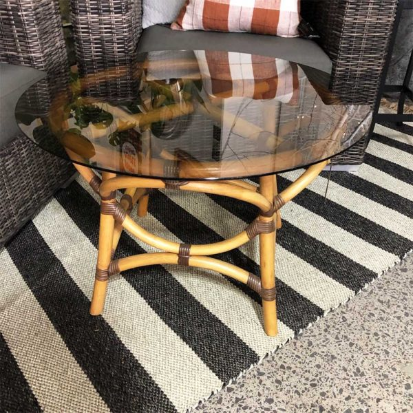 round cane side table with smoked glass top