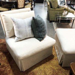 cream linen slipper chair