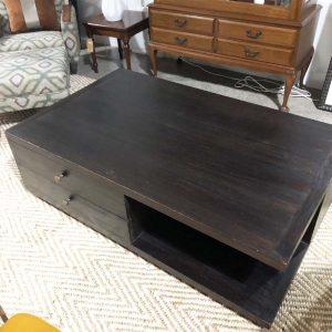 dark wood 4 drawer coffee table