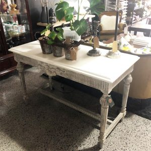 greyish white top French ornate console table