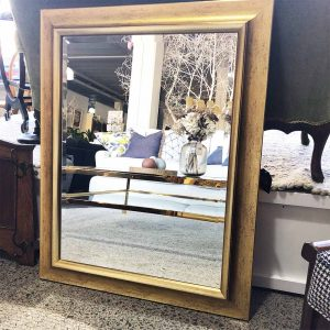 gold framed mirror with bevelled edge