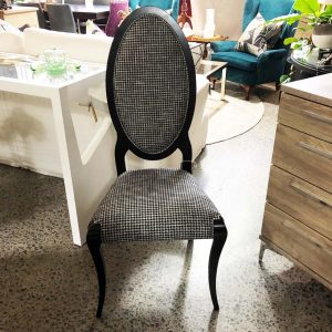 high back dining chair with houndstooth and green velvet fabric