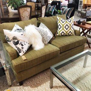 green chenille sofa