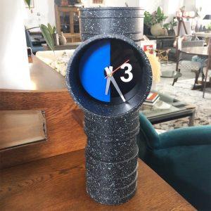 blue face pipe clock