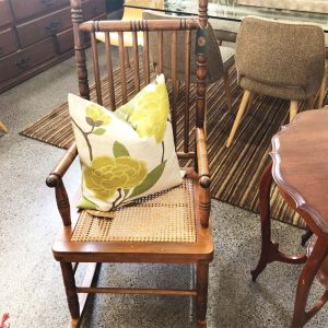 wooden rocking chair with cane seat