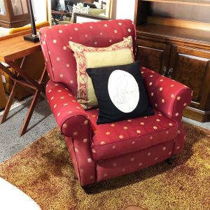 red spot chair with roll arms