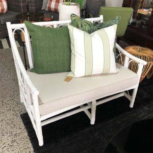 white painted cane sofa
