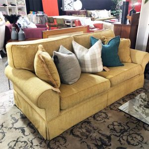 oll arm yellow chenille sofa