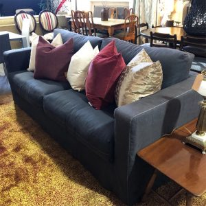 loose cover charcoal linen sofa
