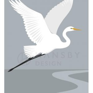 white heron print by Cathy Hansby