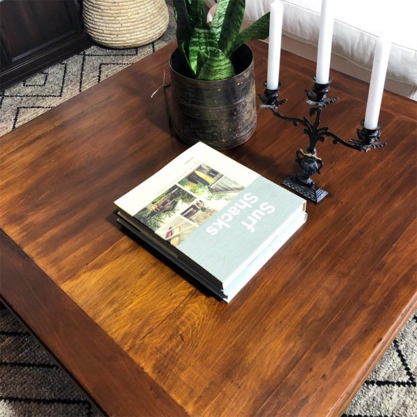 close up of ethnic square coffee table top