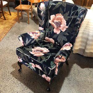 navy peonia velvet wingback chair