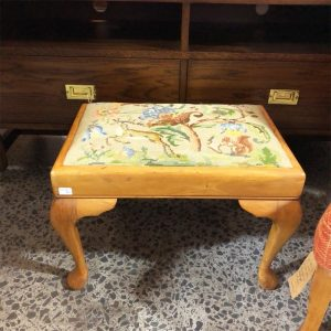 oak tapestry footstool top