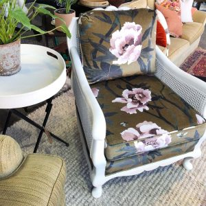 white rattan and peony chair