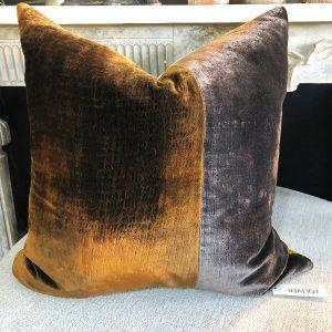 Carlucci velvet patch cushion