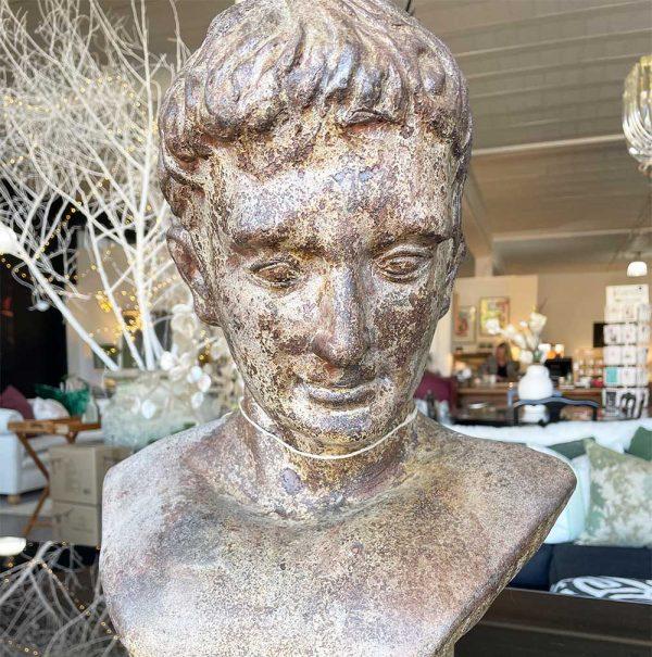 clay bust of man's head
