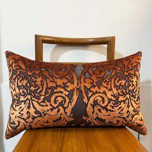 rust burnout velvet cushion