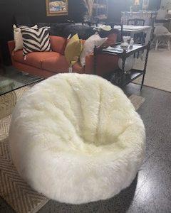 ivory sheepskin bean bag